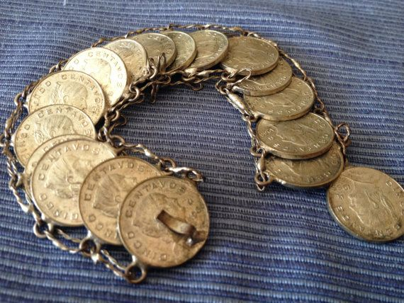 Check out this item in my Etsy shop https://www.etsy.com/ca/listing/182944345/1960s-mexican-centavos-coin-bracelet-17