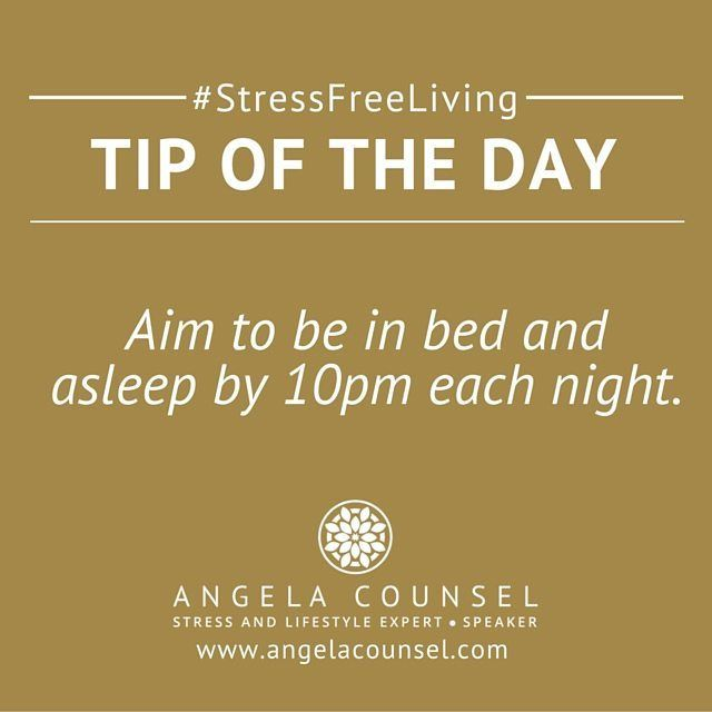 Getting enough sleep is crucial in reducing stress in your life.  It is common for Mums in Business to work late after their children have gone to bed but working late only causes more stress on your body.  If you aim to be in bed and asleep by 10pm you will give your adrenal glands a rest and allow your body to recover and replenish your energy stores.  #stressfreeliving #angelacounsel #secretmumsbusiness