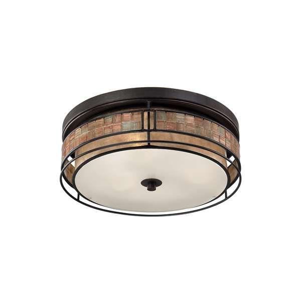 Plafon LAMPA sufitowa QZ/LAGUNA/F/L Elstead QUOIZEL OPRAWA w stylu orientalnym mozaika ciemny brąz beżowy - MLAMP - 997 PLN