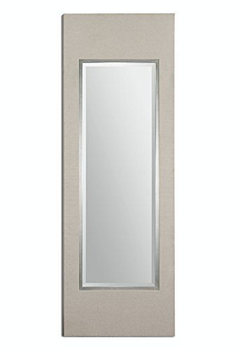 855 Grand Devon Beveled Rectangular Mirror with Crisp Beige Linen Frame ** See this great product.