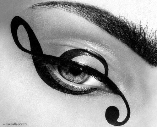 treble clef eyeliner: Idea, Make Up, Eye Makeup, Treble Clef, Art, Beauty, Hair, Music Notes, Eyes