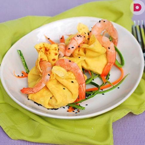 Необычные блинчики с необычной начинкой: с креветками, <br /> цуккини и морковью.