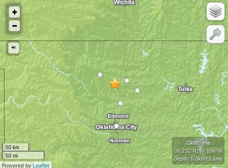 An earthquake hit today in Oklahoma in the Oklahoma City metro area. The quake struck just after 10 p.m. on Monday, about 15 miles west-southwest from Per... (4.1 mag.}  9/30/2014