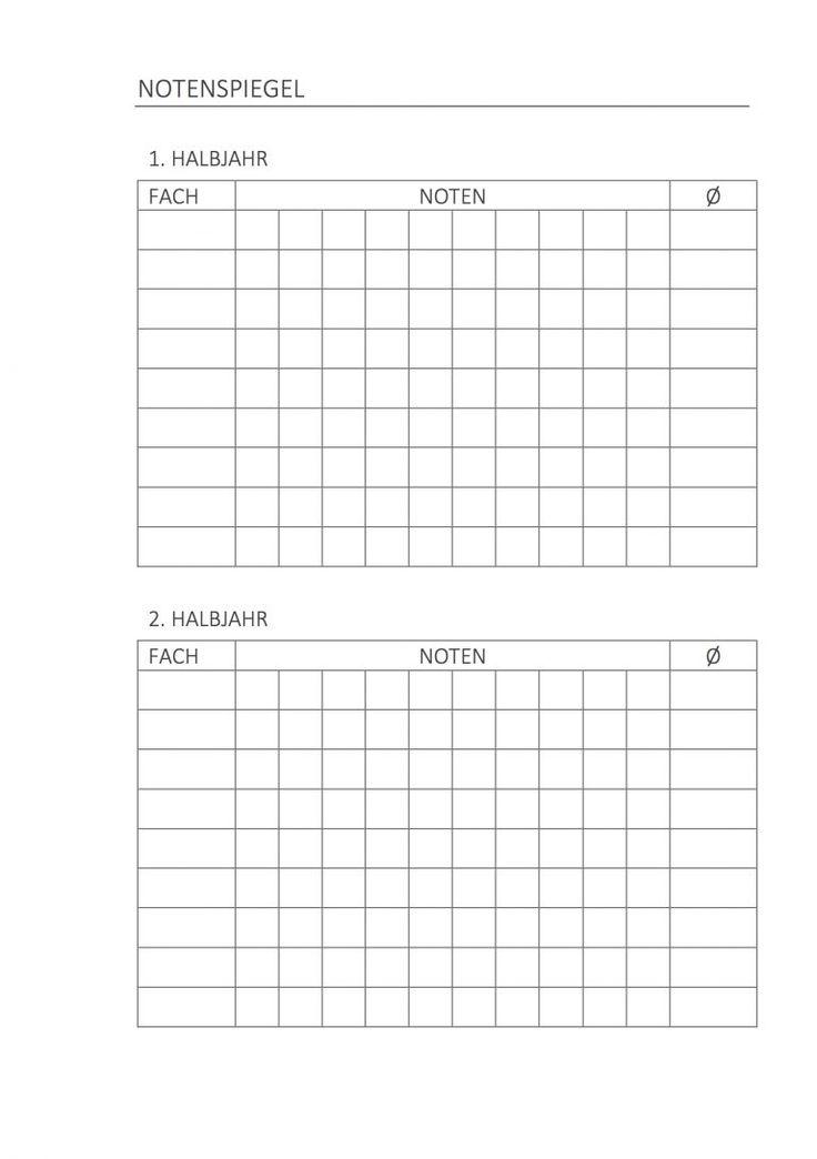 Hausaufgabenheft Notenspiegel Stationery Printables