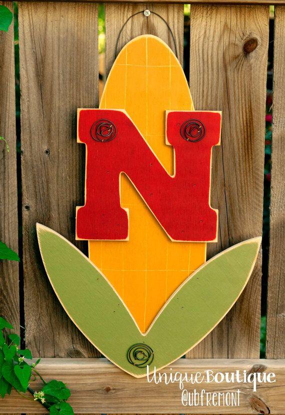 Husker Caveman Signs : Original design wood nebraska cornhuskers by