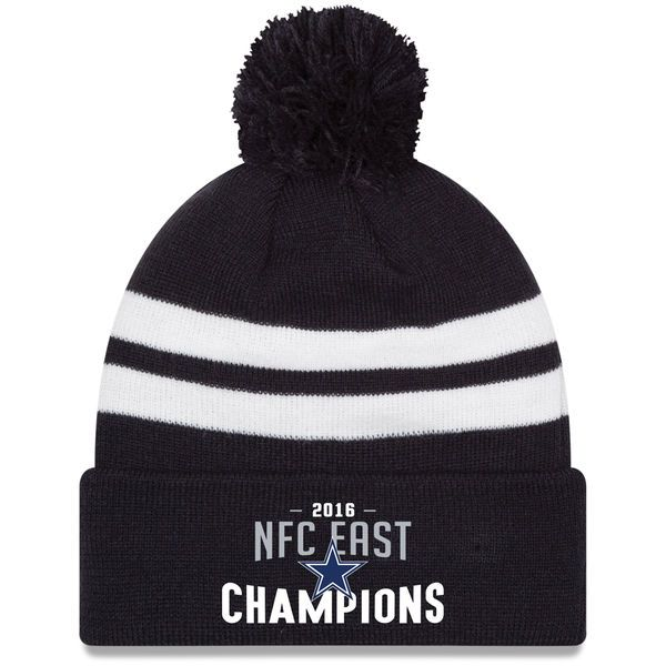 Men's Dallas Cowboys New Era Navy 2016 NFC East Division Champions Top Stripe Cuffed Knit Hat with Pom