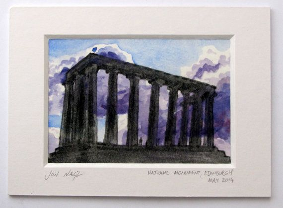 National Monument, Edinburgh (May 2014), original watercolour and ink painting with window mount on Etsy, £45.00
