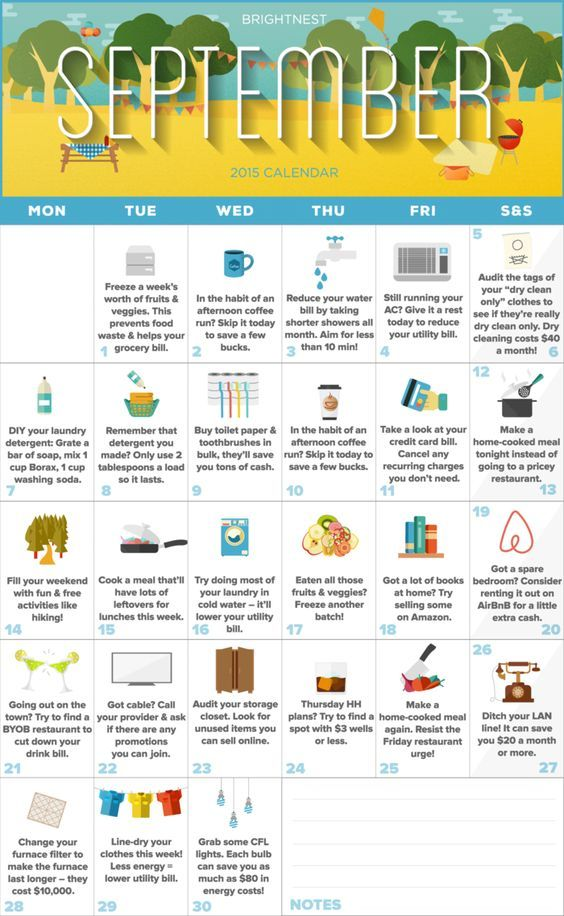 Your September Calendar for Saving Money (Printable!) Couponing