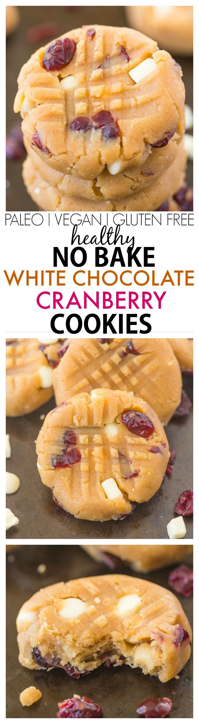 Healthy No Bake White Chocolate Cranberry Cookies- NO butter, oil, sugar or white flour but SO delicious- A quick, easy and delicious snack or healthy dessert recipe! Perfect for Christmas + the festive season too- DIY! {vegan, gluten free, paleo option}