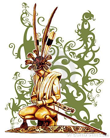 Warrior Of Dayak design illustration