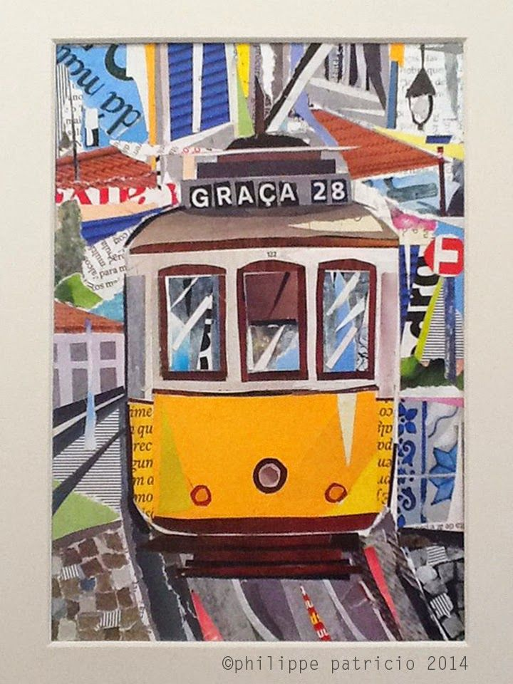 TRAM - LISBON collage / paper on cardboard with anti-uv protection / 15x21cm ©philippe patricio 2014 / all rights reserved / exibit at Art Gallery Maria Lucília Cruz / XS ART *SOLD / VENDIDO
