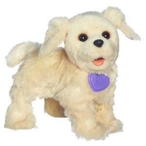 Walkin Puppies Biscuit Toy Plush This cute, electronic puppy toy walks in a circle and comes back to you.  Kids love them. It can bark and pant like a real puppy. http://bit.ly/1AeSvbF