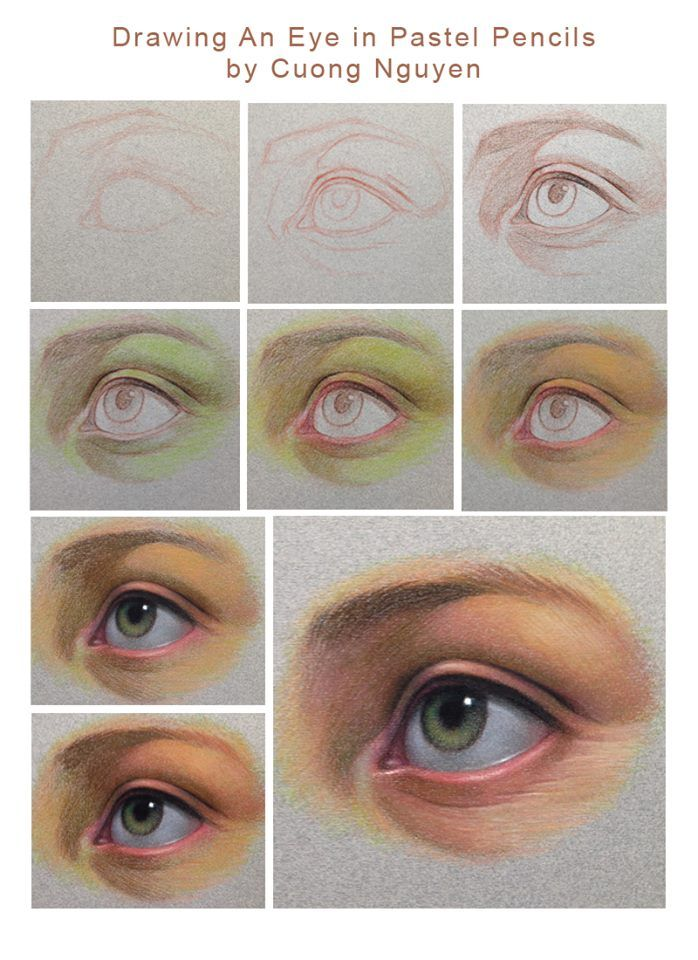 Drawing an eye in pastel pencil by Cuong Nguyen