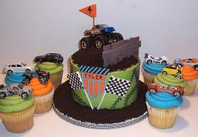 monster truck birthday cake and cupcakes