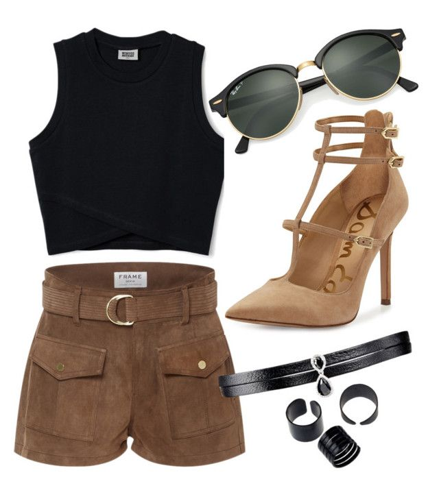 """""""Camel heels"""" by tovenilsen on Polyvore featuring Frame Denim, Sam Edelman, Ray-Ban and Fallon"""