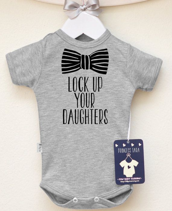 I like this Lock Up Your Daughters Child Boy Garments. Child Boy's Bodysuit with Bow Graphic. Toddler Boy Clothes. Hipster Boy Shirt. Select Your Colour.