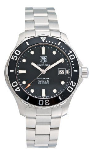 Tag Heuer Men's Aquaracer Calibre 5 Stainless Steel Black Dial Watch #WAN2110.BA0822 TAG Heuer. $1525.51. Stainless steel round case. Black dial. Stainless steel bracelet. Case diameter: 42 mm. Water-resistant to 984 feet (300 M)