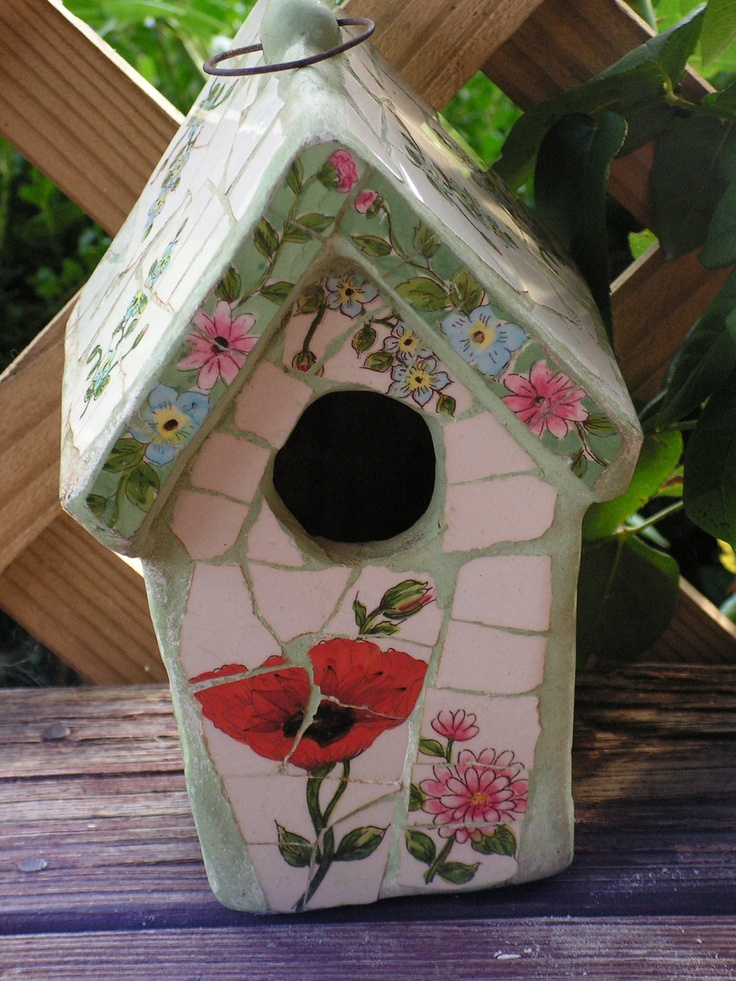 Vintage Tile Mosaic Birdhouse Floral Red Poppy Mint Green. $14.00, via Etsy.