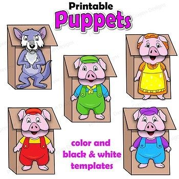Three Little Pigs Craft Activitiy Printable Puppet Templates