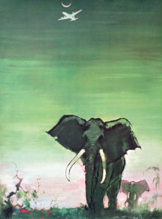 1955 SAS Airlines Poster AFRICA Elephants  by OutofCopenhagen