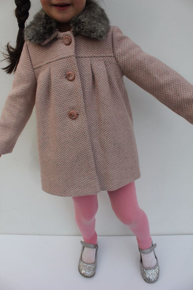 7caccf0ad958 Details about Baby Girls Monsoon Pink Tweed Annie Dress Jacket Coat ...