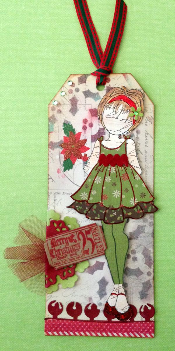 Prima - Julie Nutting Mixed Media Doll Stamp #1 - I think I will name her Holly for today! 1st Xmas card of the season for me.