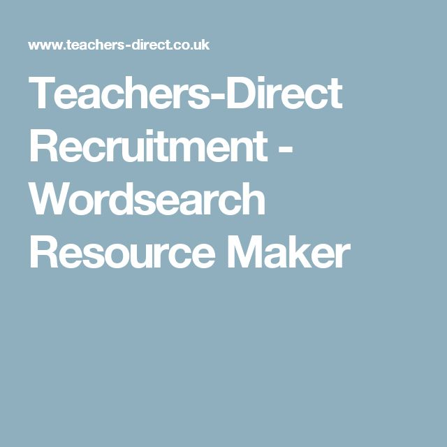 Teachers-Direct Recruitment - Wordsearch Resource Maker