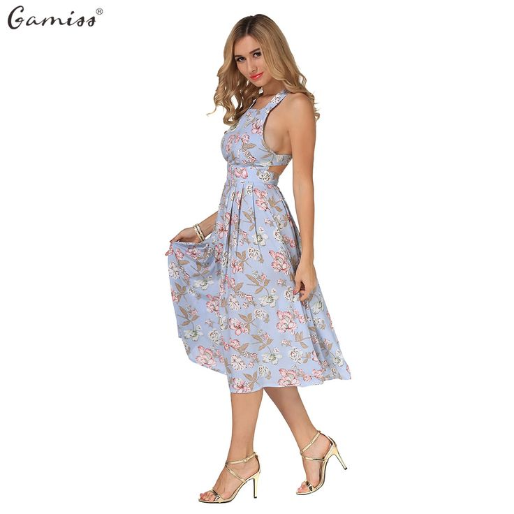 Gamiss/модные рукавов Спагетти ремень квадратным вырезом спинки Женщины Цветочный принт летнее платье трапециевидной формы в стиле бохо пляжные платья купить на AliExpress