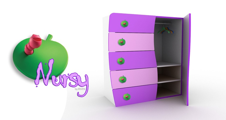 Nursy by IRVEN. Nursy Baby Closet by IRVEN. You have a drawer, a closet, and selves in a singe baby furniture. After some months you remove the hanger and add more selves and you still keep the same furniture. Colorful and playful design in your children's bedroom.