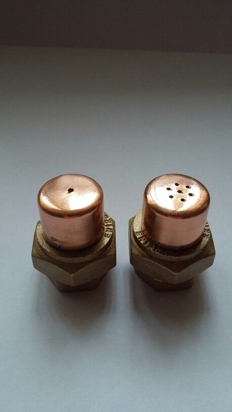 Salt & Pepper set quirky made from 22 mm copper pipe and brass end caps.