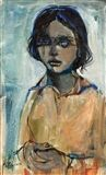 Ruth+Schloss+-+A+girl+in+a+yellow+dress,+oil+on...