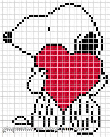 Snoopy valentine cross stitch heart ♥♥♥♥ ❤ ❥❤ ❥❤ ❥♥♥♥♥