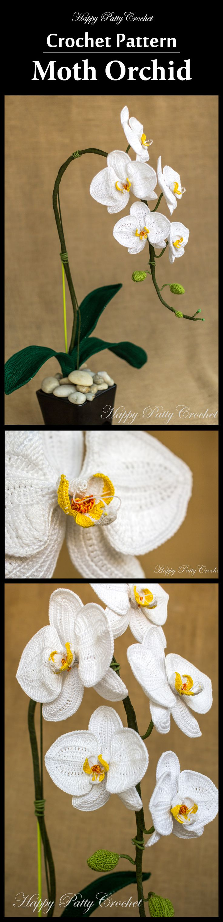 Crochet your own arrangements and wow your loved ones (or your home), make stunning bouquets, an attractive brooch, hair accessory or use the blossoms as centerpieces or secondary piece in almost any decorative settings. The e-book includes patterns for Phal (Phalaenopsis) Orchid blossoms in 2 sizes, 3 sizes of orchid buds and 2 sizes of leaves. All elements needed for a beautiful arrangement. #crochetorchid #mothorchid #phalorchid #fancydecor #orchidpattern