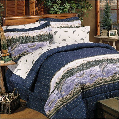 Trout Lake Fishing Decor Bedding Set Full Http Buycheapfurnituresales Com