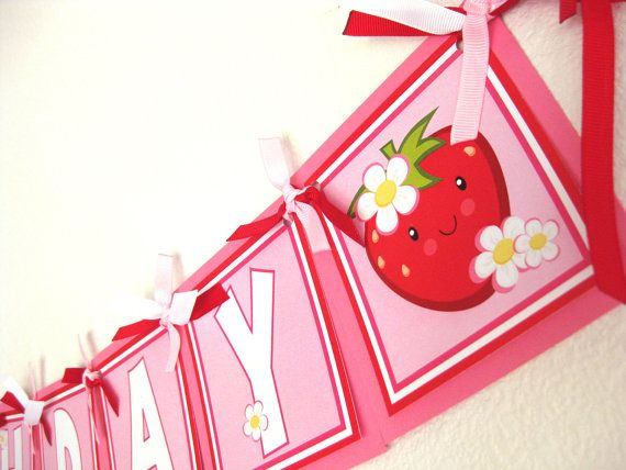 Strawberry Birthday Banner Personalized Happy by LavenderPeach, $26.00