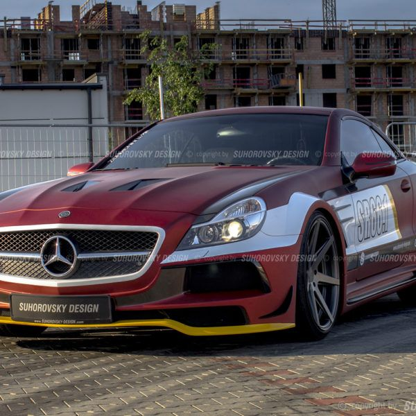 Wide body kit for Mercedes-Benz SL R230 by Suhorovsky Design. Works well also as a pre-lift face-lift conversion. Give your car an incredible racing-look.