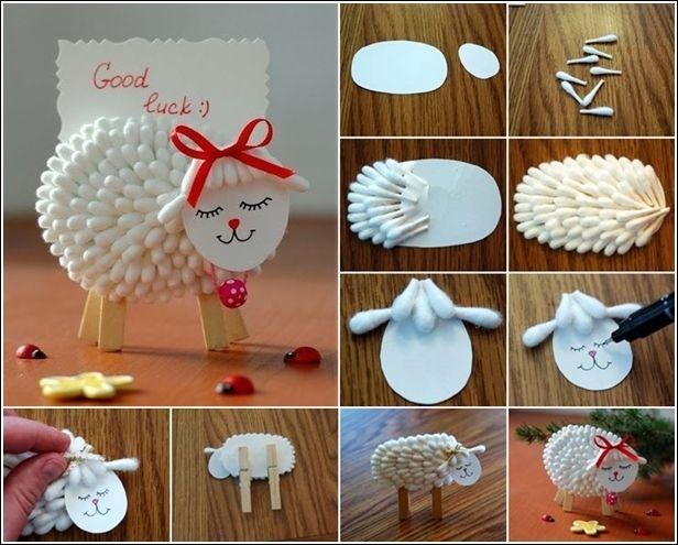 DIY cute lamb from cotton swab