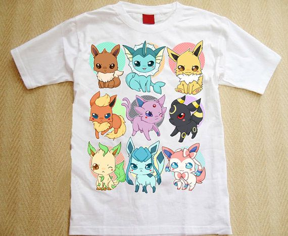 All Eeveelutions t-shirt Pokemon by linkitty on Etsy
