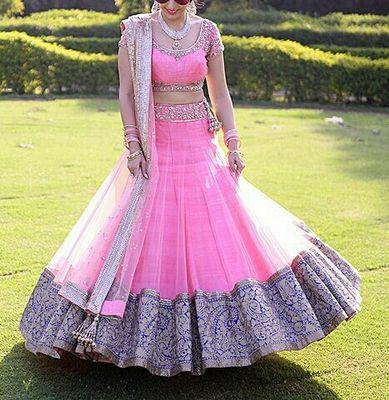 Bhagalpuri Silk Machine Work Pink Semi Stitched Lehenga Lehengas