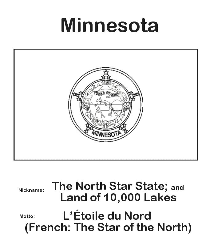 State Flag Of Minnesota Coloring Pages Minnesota State Flag Coloring Page