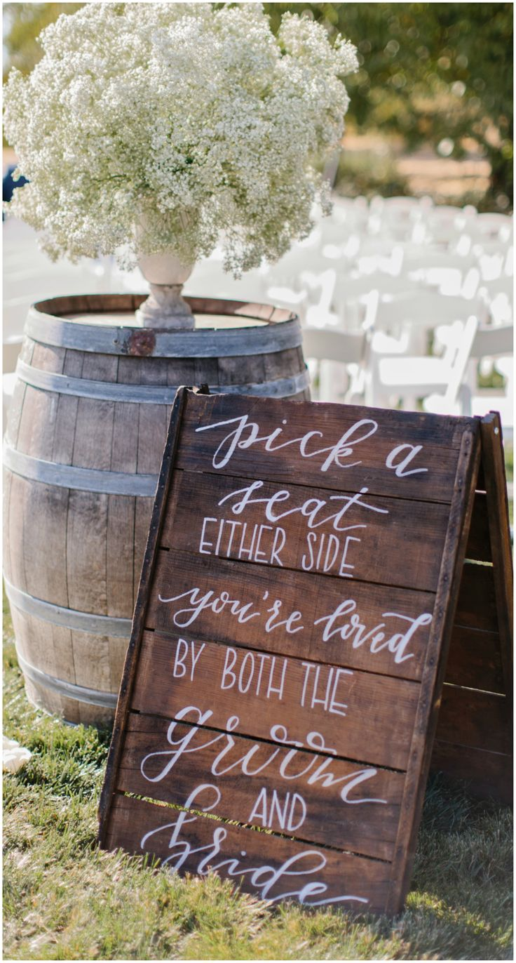 Pick a seat not a side, wedding sign, rustic wedding // Marissa Kay Photography
