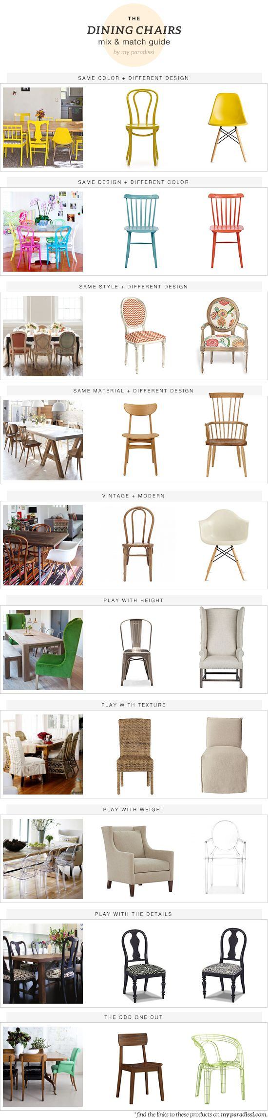 The dining chairs mix and match guide - My Paradissi