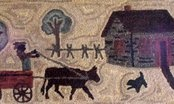 Jill Peterson's Homestead Rug Series  Patterns available on linen