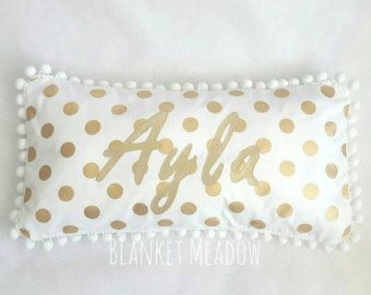 Personalised Name Cushion in Gold Metallic