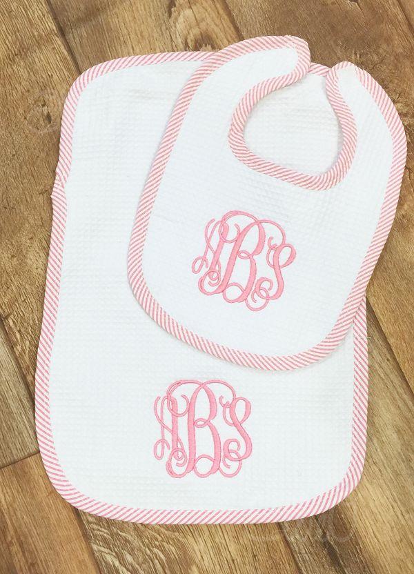 Seersucker Burp Cloth and Bib Set Pink
