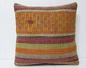 20x20 kilim pillow 20x20 orange pillowcase orange pillow sham orange throw pillow orange pillow cover orange pillow case orange rug 20941