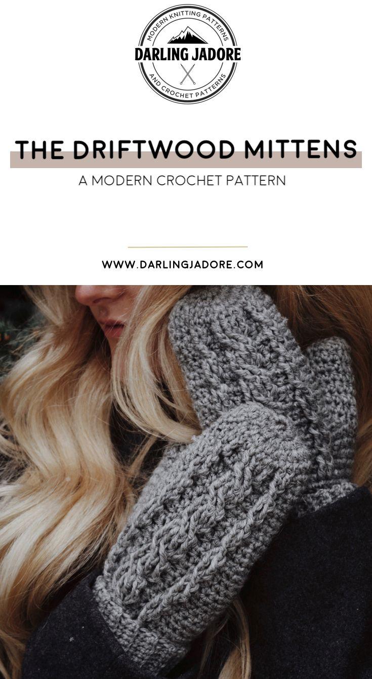 The Driftwood Mittens Crochet Pattern Darling Jadore Cable Crochet Mitts Crochet Patterns Crochet Mitts Crochet Mittens