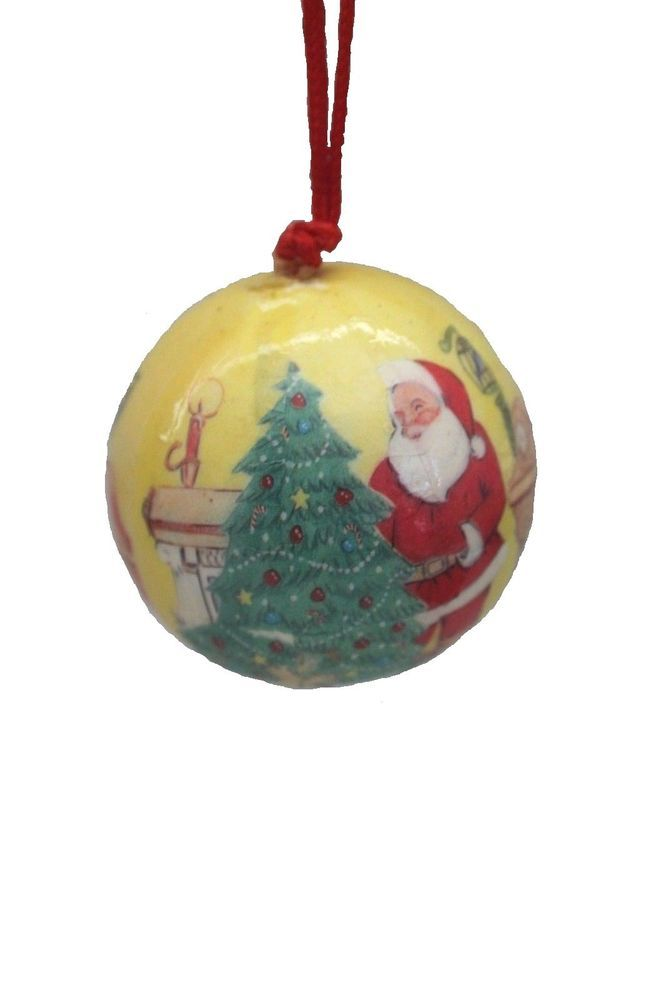 Vintage Paper Mache Christmas Ornament Round Santa W Christmas Tree Fireplace Unknown Paper Mache Christmas Christmas Ornaments Paper Mache