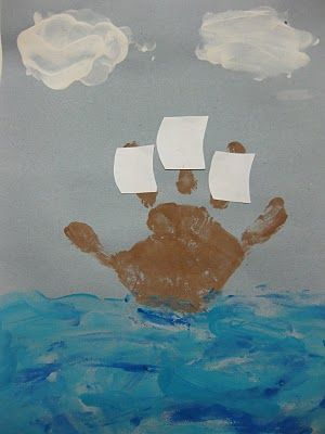 kids tell story of Thanksgiving in crafts: Columbus Day, Hands Prints, Thanksgiving Crafts, Idea, Boats, Kids Crafts, Ships, Preschool Crafts, Mayflower Crafts