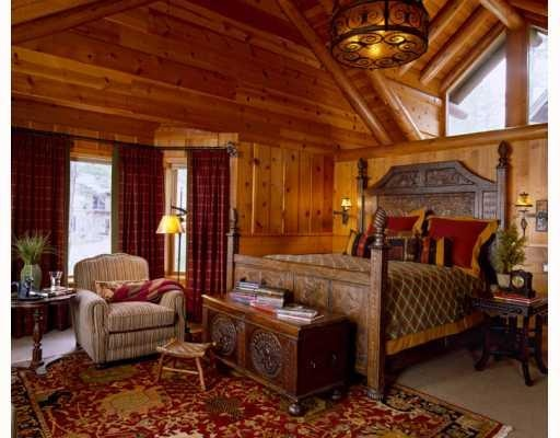 luxe cabin bedroom.